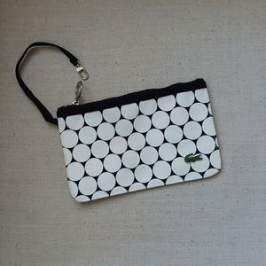 Lacoste black and white wristlet